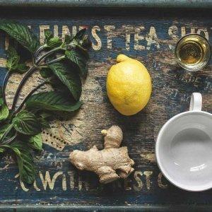 Kräuter, Zitrone, Teetasse Ingwer